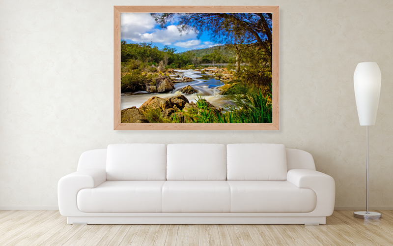 Alumalux high gloss with wooden box frame print of Bells Rapids