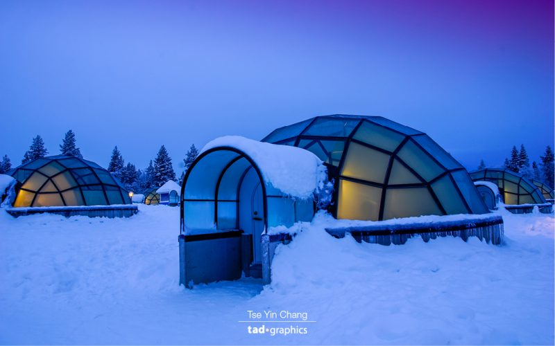 Glass igloos are an engineering marvel, they are made with special thermal glass so that they can stay cosy even when the outdoor temperature is minus thirty degrees Celsius.
