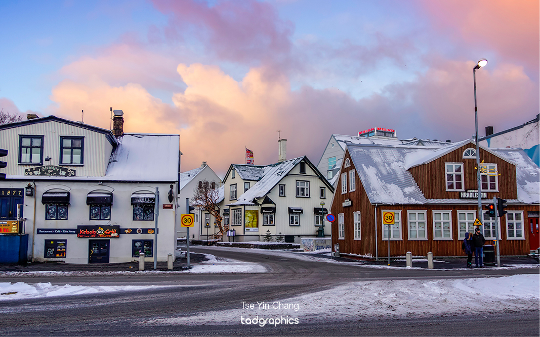 Reykjavik is covered in snow during winter