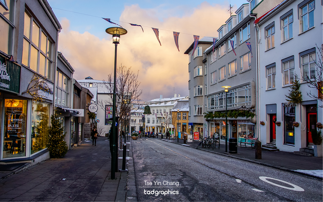 Downtown Reykjavik on Christmas Day