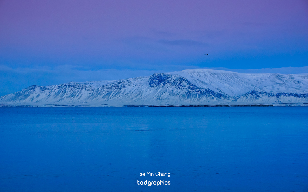 Snowy Engey Island from Reykjavik Waterfront