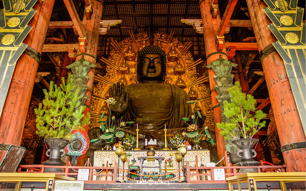 The world's largest bronze statue of Buddha Vairocana, known in Japanese as Daibutsu