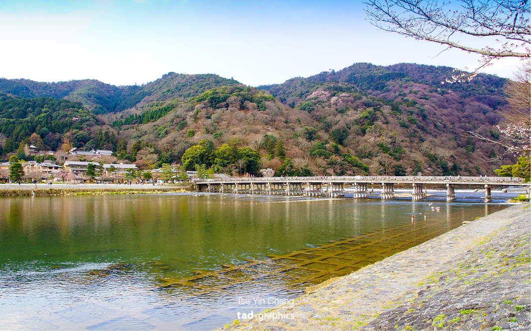 Picturesque Arashiyama, the Togetsu-kyo Bridge has been a landmark for over four hundred years