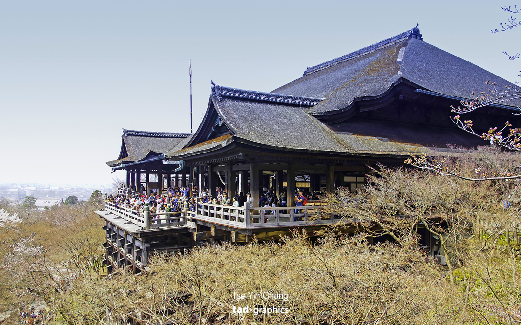 The impressive Kiyomizu-dera is made of wood and constructed without using a single nail