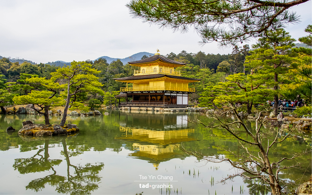 The three story Golden Pavilion or 'Kinkaku-ji' building sits in the middle of a landscaped garden and overlooks a large pond