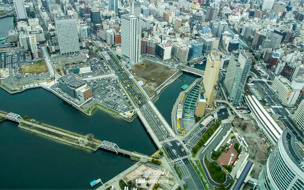 Yokohama taken from Yokohama Landmark Tower is the second largest city on the country