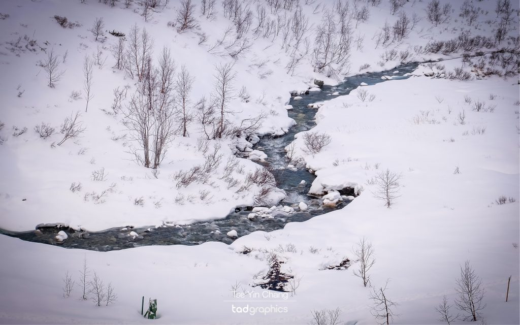 Snowy hillside of Myrdal