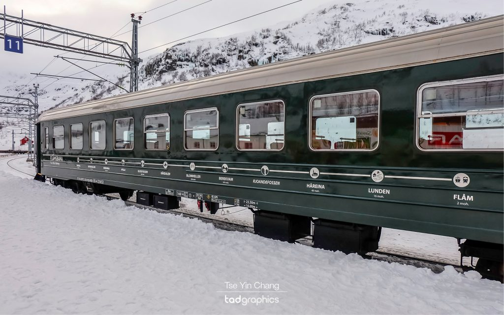 The train stops along the Flåm Railway