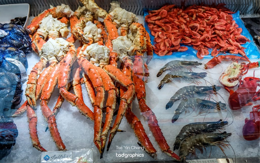 Some of the seafood in Bergen Fish Market