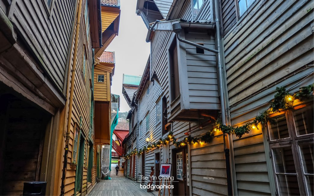 The interior of these colourful wooden buildings in Bryggen is equally impressive