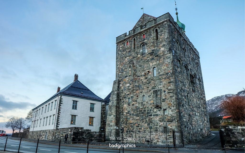 Bergenhus Festning, the city's fortress has guarded the harbour entrance since at least the 1240s