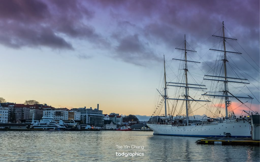 Sunset at Bergen Waterfront